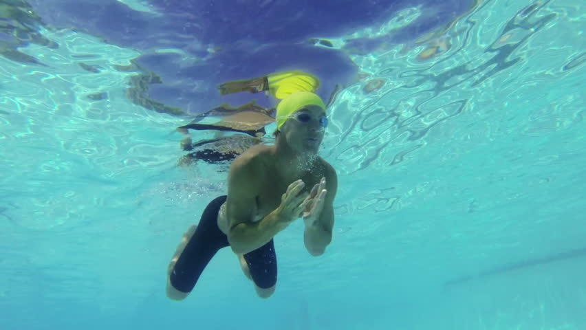 Slow Motion Underwater View of Man Swimming  #6601196
