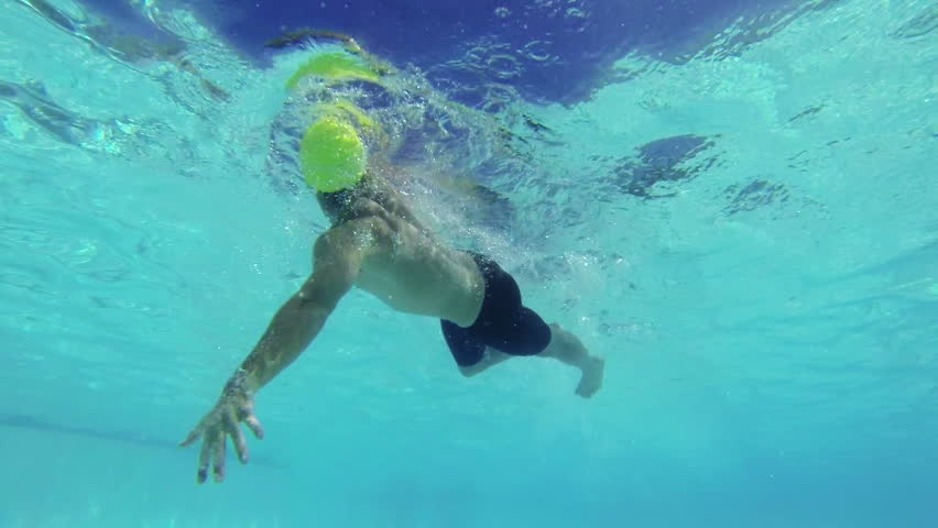 Slow Motion Underwater View of Man Swimming  #6601214