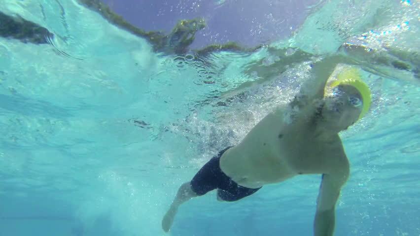 Slow Motion Underwater Male Swimmer Swimming  #6601220