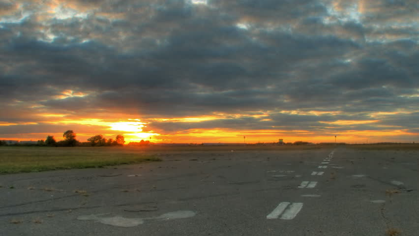 Motion control time lapse of sunset over road, high dynamic range imaging