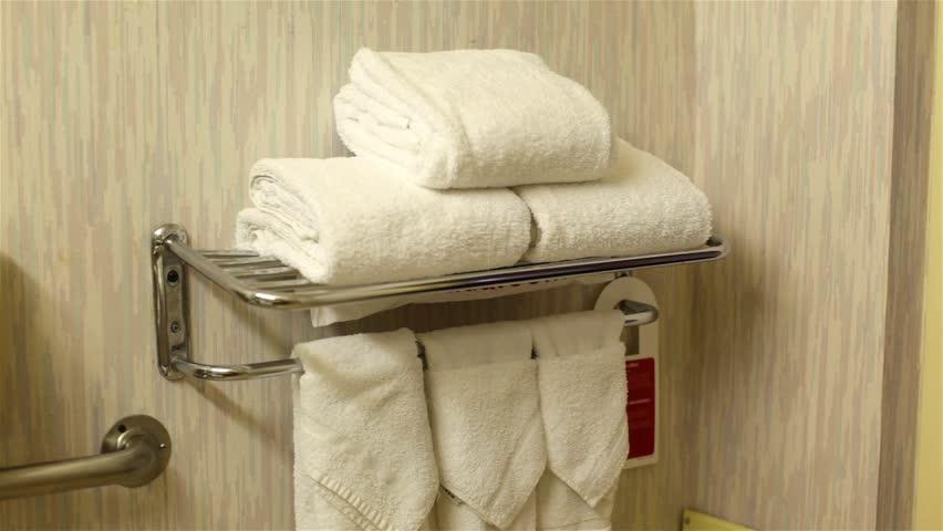 Towel Setup In The Bathroom Stock