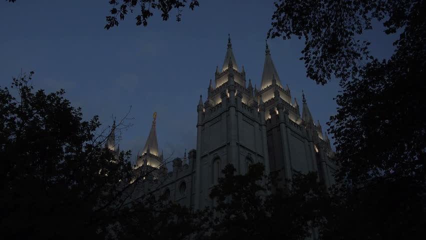SALT LAKE CITY, UTAH - JUN 2014: Mormon LDS Temple Salt Lake City Utah night. The Church of Jesus Christ of Latter-day Saints (LDS Church) at Temple Square. 253,015 square feet. Dedicated in 1893.   Shutterstock HD Video #6614897