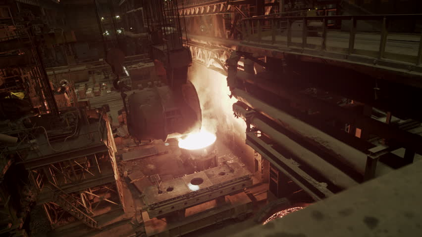 Molten metal melted in furnace at metallurgical plant | Shutterstock HD Video #6621839