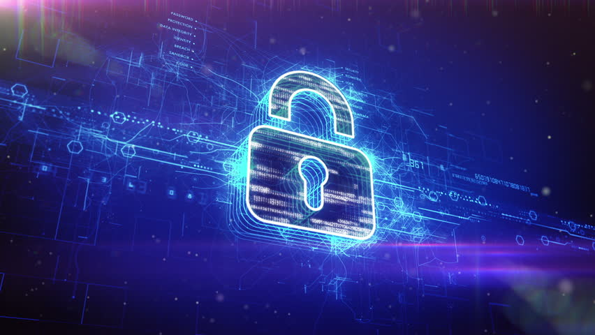 Abstract animation of a digital padlock in cyber space		 | Shutterstock HD Video #6624962