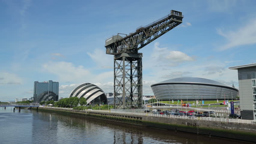GLASGOW, SCOTLAND - JUNE 05, 2014: The new skyline showing the Hydro, Clyde Auditorium and the Finnieston Crane. The crane has been left as a reminder of Glasgow's ship building industrial past.