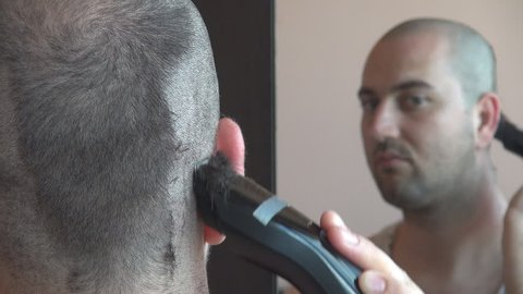 Man Hair Cutting To Zero Stock Footage Video 100 Royalty Free 6647237 Shutterstock