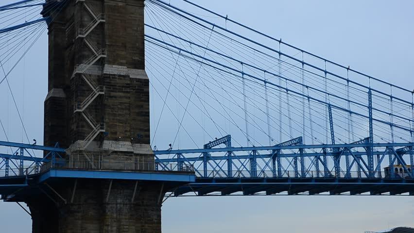 Traffic on bridge connecting cincinnaty with kentucky | Shutterstock HD Video #6664184