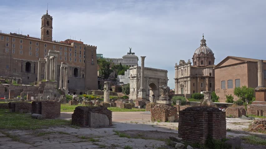 Rome, Italy, ruins of Roman Forum and other antiquities on Palatine hill. | Shutterstock HD Video #6681329