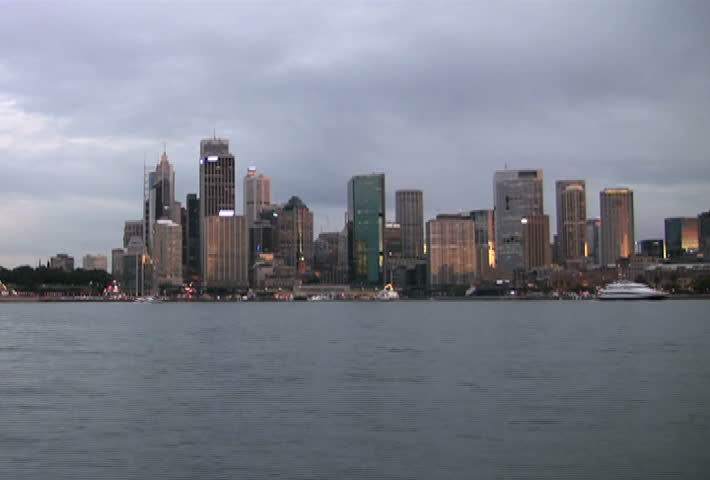 Time lapse of Sydney Harbor and Circular Quay at sunset
