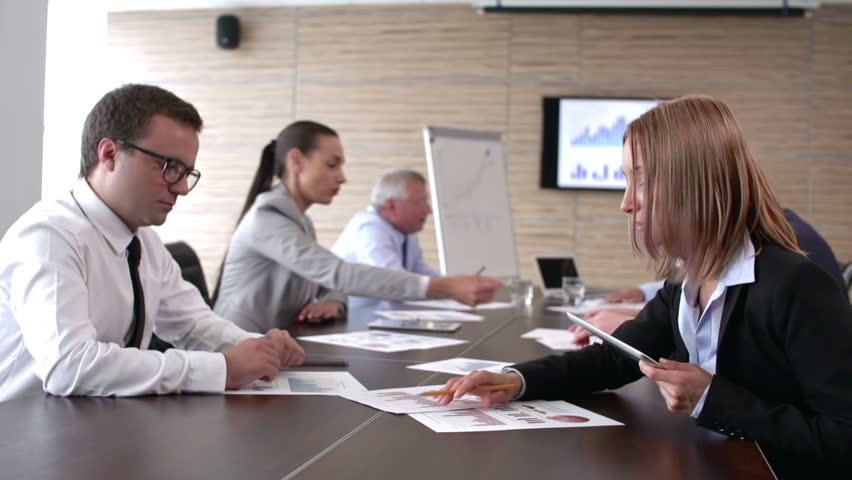 Panoramic shot of business meeting in full swing
