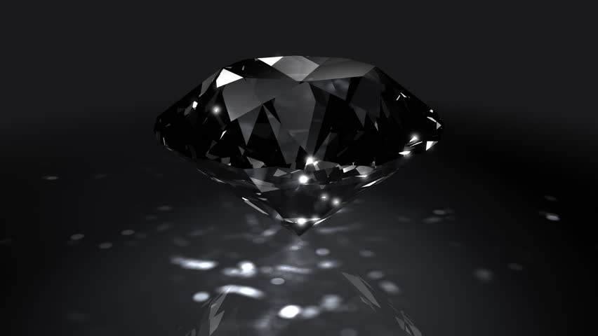 Black Spinning Shiny Diamond - Diamond 05 (HD) - Motion background in black with spinning shining diamond. Nice reflections and highlights. Seamless loop.