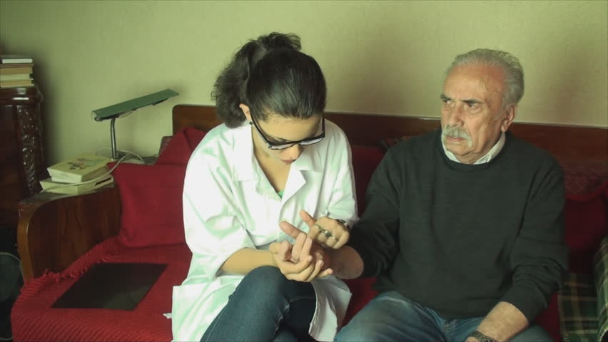80 Year Old Man Checked Up, By His Medical Student Grand Daughter, Arthritis,Pan | Shutterstock HD Video #6709492