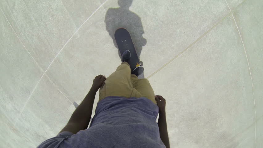 Slow Motion POV Man Skateboarding In Skatepark  | Shutterstock HD Video #6717007