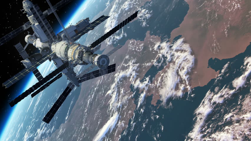 Flight Of The Space Station Above The Earth. 3D Animation.