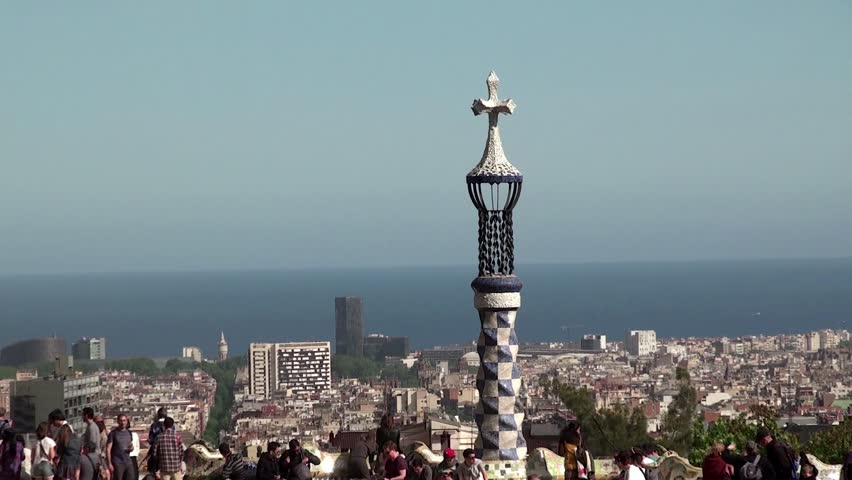 BARCELONA - APRIL 29: View of Barcelona and the bay from the main terrace of Park Guell. April 29, 2014 in Barcelona, Catalonia, Spain   Shutterstock HD Video #6726913