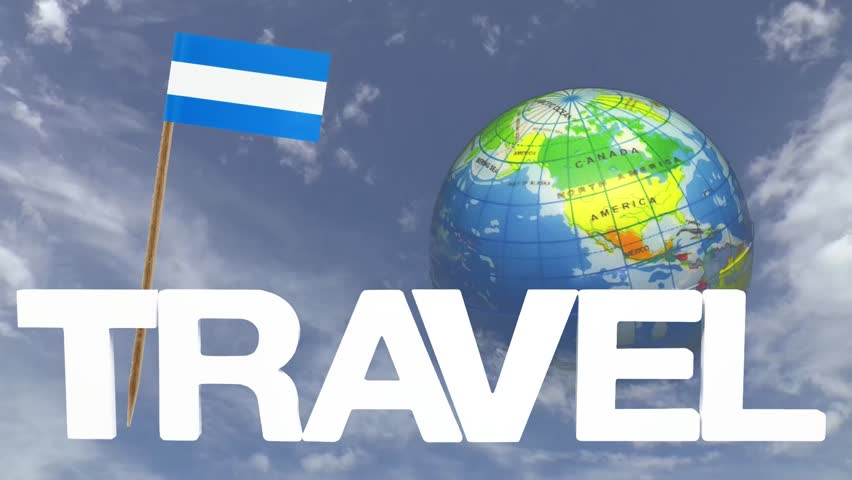 The word travel and a turning globe  in front of a blue sky with tooth pick and a small paper flag of NICARAGUA | Shutterstock HD Video #6729925