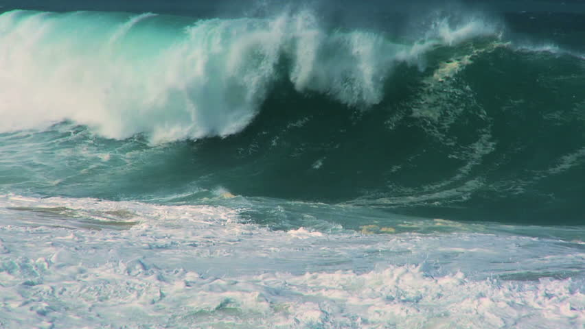 Awesome power of surfing waves breaking onto land 60 FPS | Shutterstock HD Video #673807