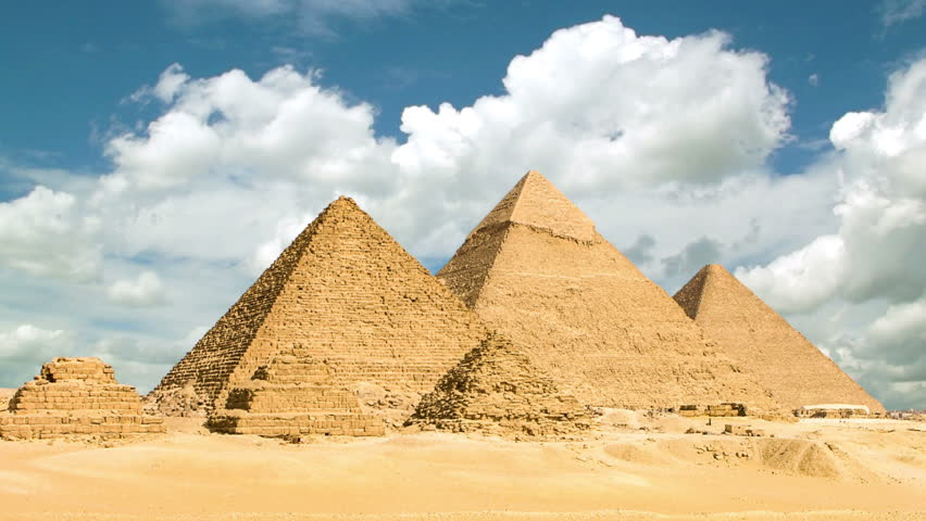 Timelapse of the great pyramids in Giza valley, Cairo, Egypt