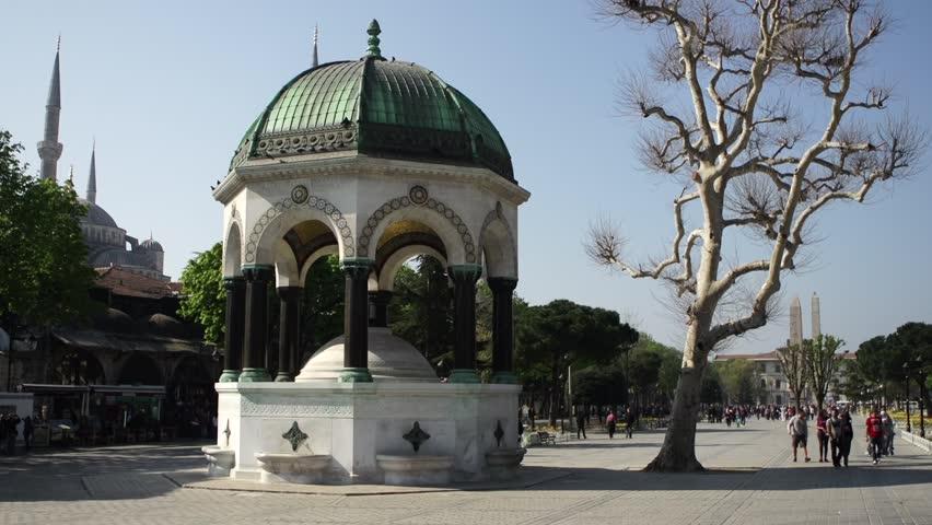 Sultan Ahmet, Istanbul/Turkey – JUNE 2014 : The German Fountain is rest orated in 2014.   Shutterstock HD Video #6741946