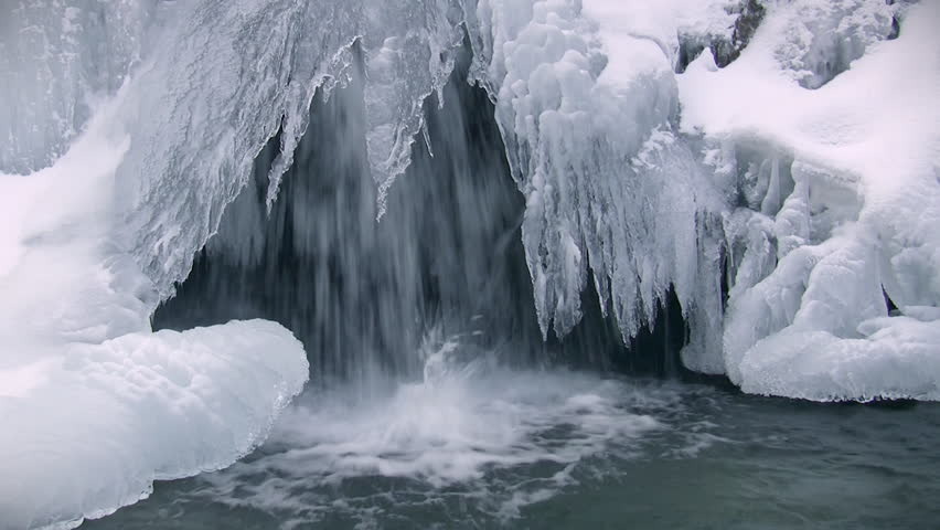 Icy waterfall close-up, sound