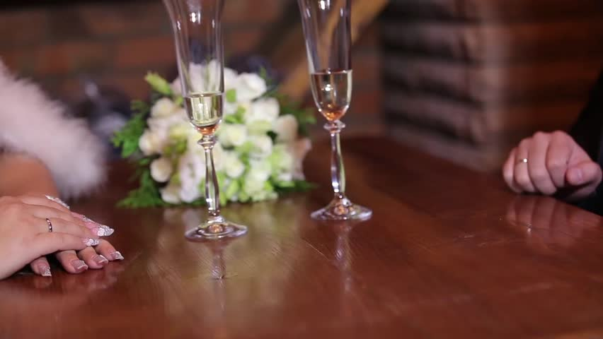 Hands of lovers and champagne | Shutterstock HD Video #6760822