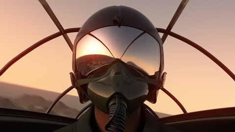 Footage Of Pilot Wearing Mask And Helmet In Cockpit Of Fighter Jet. 686_c