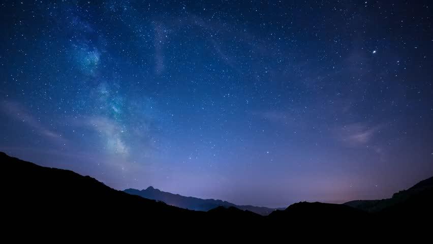 Timelapse night sky stars milky way on mountains background. 4K. Tuscany | Shutterstock HD Video #6773830