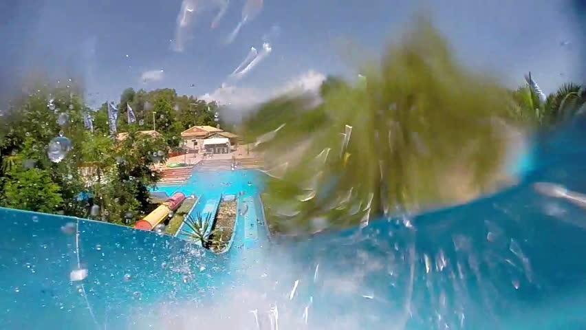 Water slide at Aqua Park, slow motion