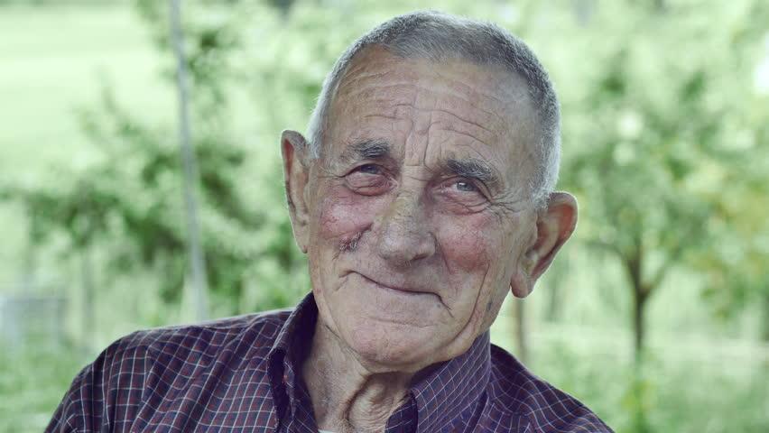 Smiling happy wrinkled old man: elderly, countryside, outdoor, portrait, 4k