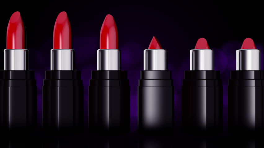 Moving and rotation of red lipsticks. Movie of fashion with red lipsticks. Professional makeup and beauty. Presentation of beautiful make-up. Lipsticks closeup over background with blinking bokeh. | Shutterstock HD Video #6793744
