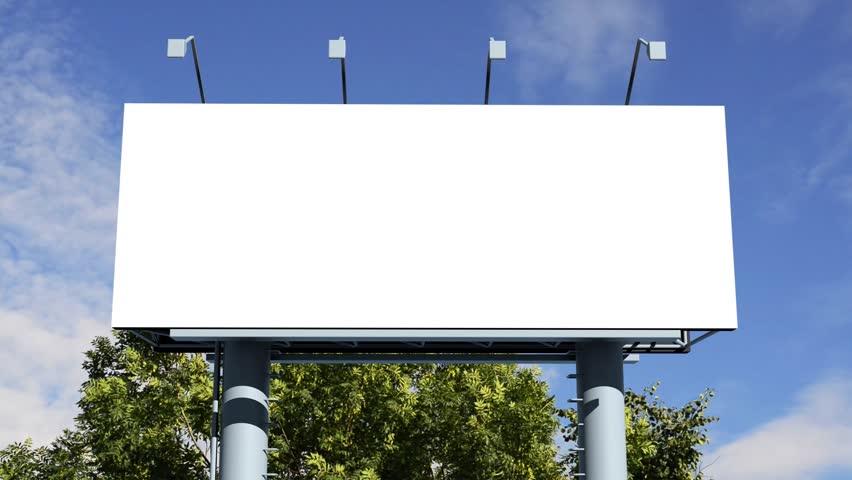 Billboard - empty billboard in front of beautiful cloudy