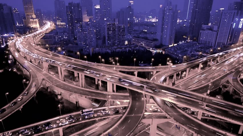 Aerial View of freeway busy city rush hour heavy traffic jam highway,shanghai Yan'an East Road Overpass interchange,Timelapse of driving & cars racing by with streaking lights trail at nigh. gh2_07402 | Shutterstock HD Video #6805990