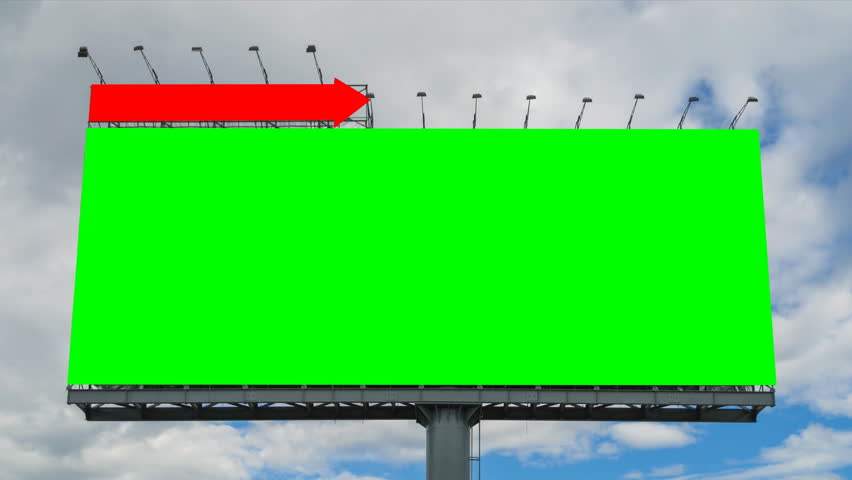Time lapse big billboard and cloud float in sky (2 shot , green and white screen)  | Shutterstock HD Video #6814873