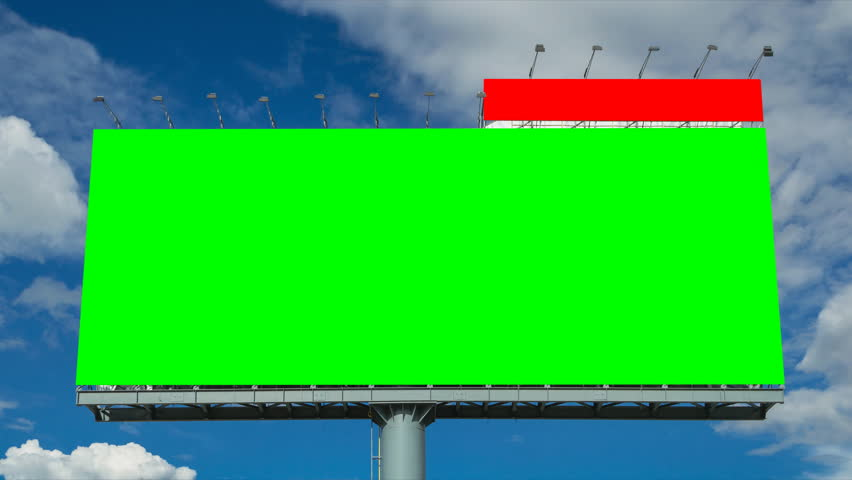 Time lapse big billboard and cloud float in sky (2 shot , green and white screen)  | Shutterstock HD Video #6814900