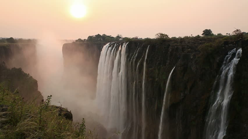 Victoria Falls at sunset, View from Zambia | Shutterstock HD Video #6819565