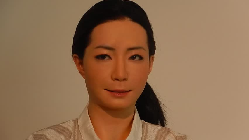TOKYO, JAPAN - JULY 12 : Otonaroid on 12 July 2014. at Tokyo, Japan. Otonaroid is a humanoid robot, which is able to talk and answer questions. It was developed in Osaka University.