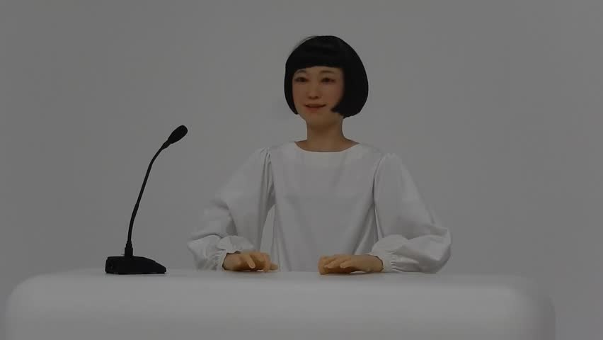 TOKYO, JAPAN - JULY 12 : Kodomoroid on 12 July 2014. at Tokyo, Japan. Kodomoroid is a humanoid robot, which is able to talk and answer questions.