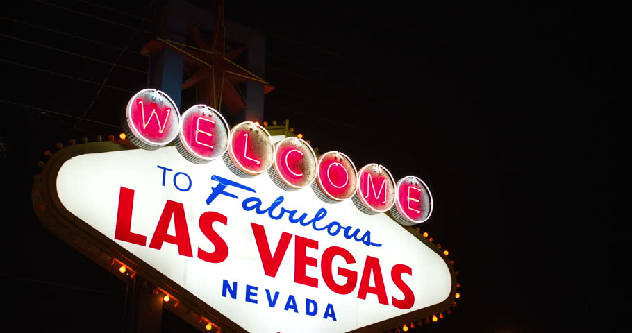 Night time at Las Vegas Welcome Sign 4k | Shutterstock HD Video #6862405