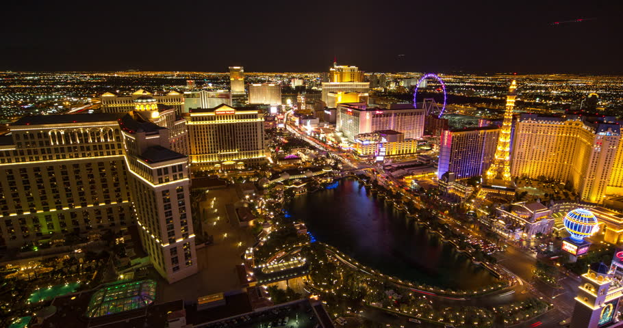 LAS VEGAS - CIRCA JULY 2014: Las Vegas strip evening night neon lights | Shutterstock HD Video #6862597