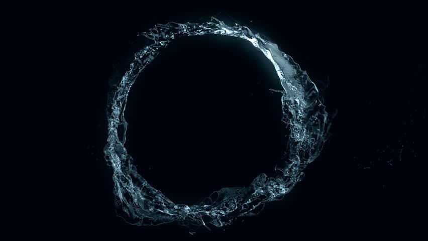 Water circle looping on black (seamless loop, alpha matte, full hd, cg, slow motion) #6865807