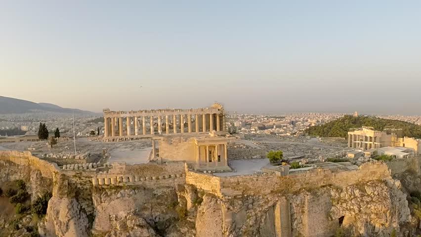 Acropolis Parthenon in Athens Greece Aerial footage Panoramic view