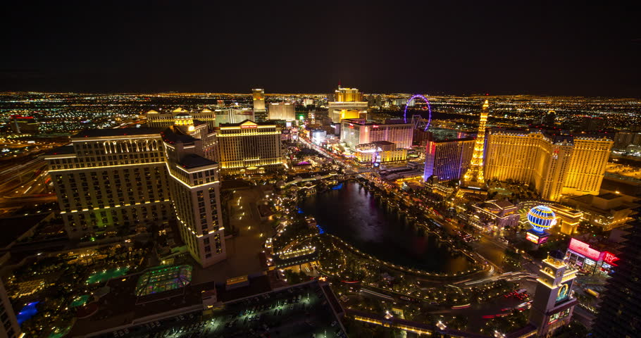 LAS VEGAS - CIRCA JULY 2014: The Strip at night zoom in 4k constant resolution | Shutterstock HD Video #6900877
