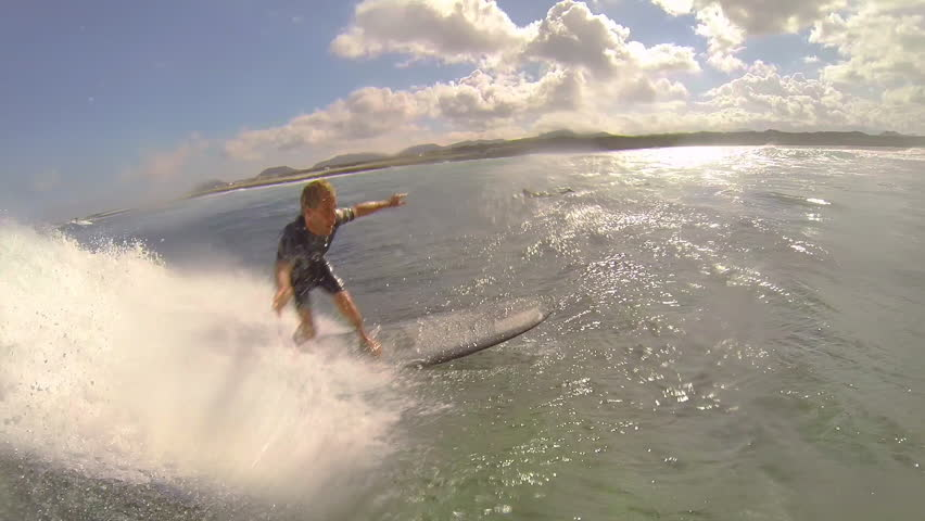 CLOSE UP: Surfer riding waves in Canary Islands   Shutterstock HD Video #6901711