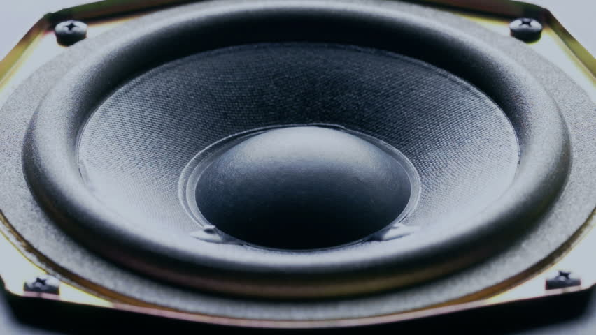 Close-up at moving sub-woofer. Speaker sub-woofer moving from loud music.  #6902965