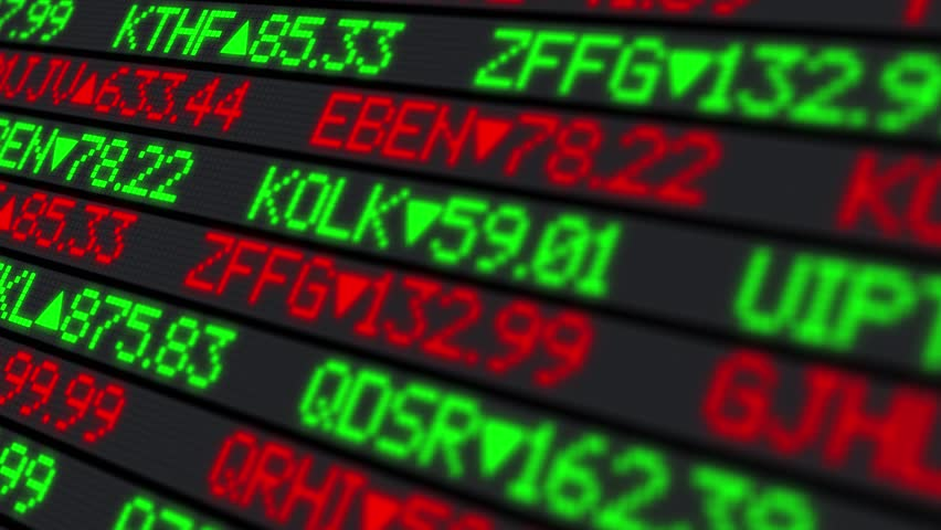 A fictional stock market ticker.  With optional luma matte. | Shutterstock HD Video #6922981