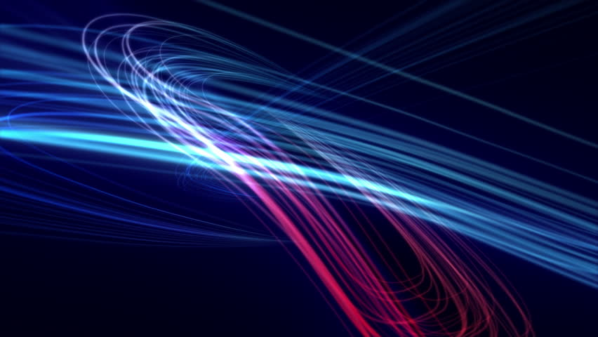 Looping from 14:00 to end. Background animation of flowing streaks of light. Abstract blue and red lines on dark background. In 4K ultra HD.