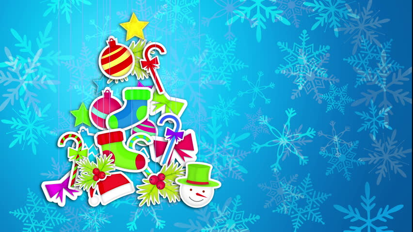 Tree Christmas Made By Ornament Art Paper Blue Background - 4K Resolution Ultra HD (UHD) | Shutterstock HD Video #6930550