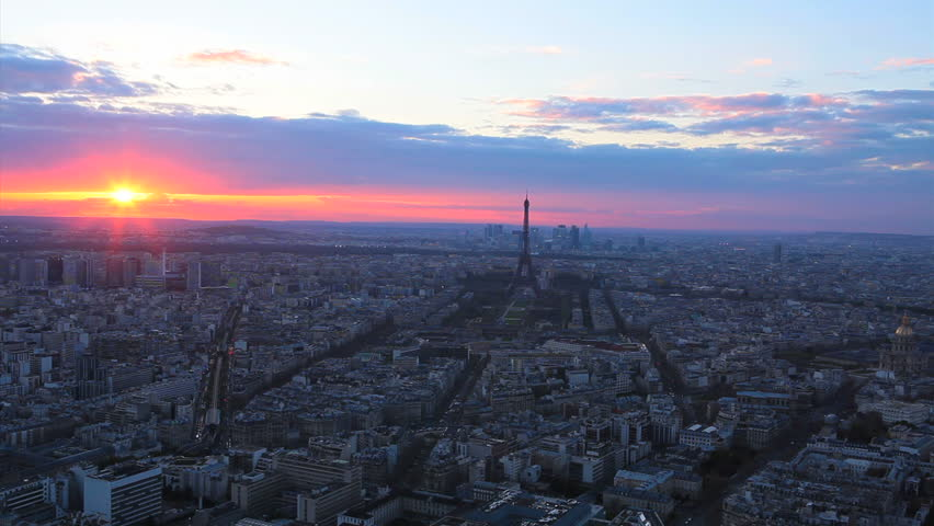 Paris aerial view from Montparnasse Tower. Colorful sunset. | Shutterstock HD Video #6941758