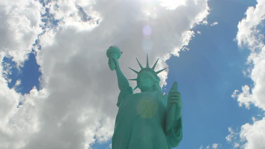 Statue of Liberty - Timelapse rolling clouds - Replica | Shutterstock HD Video #6944557
