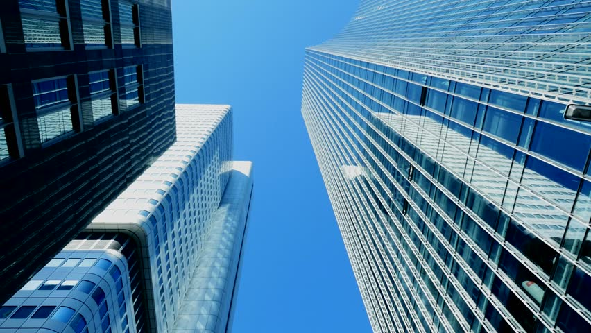 bank buildings. modern skyscrapers. skyline. commercial. financial. glass towers. high angle view #6951634